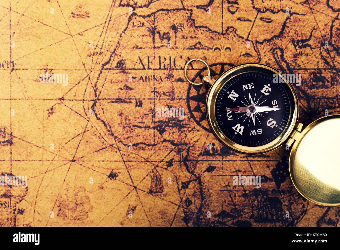 Bussola Sul Vecchio Mondo Vintage Mappa Con Spazio Di Copia
