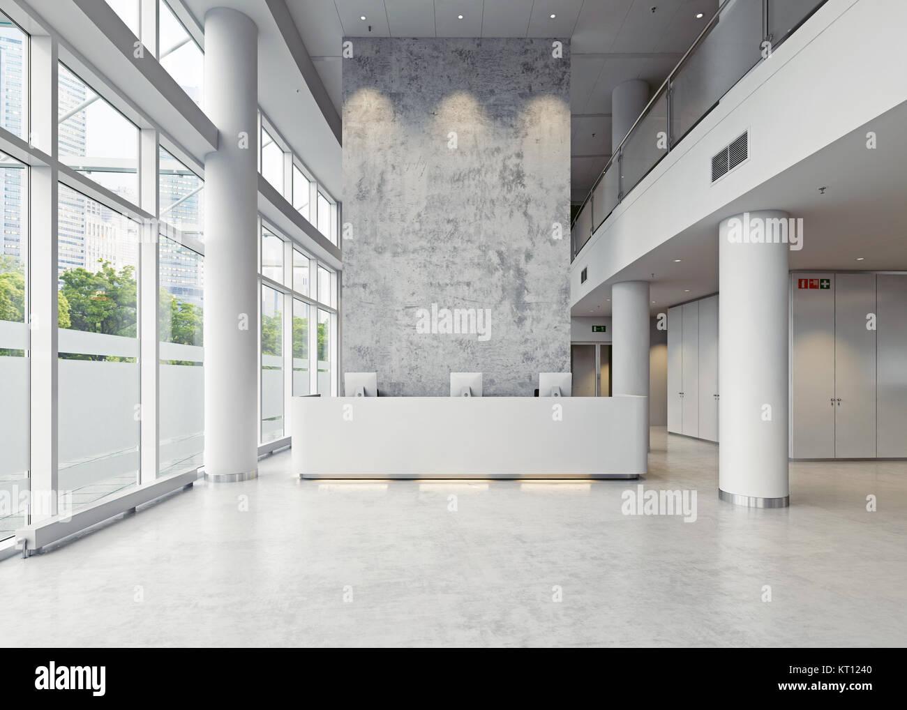 Azienda moderna architettura hall. 3d concept Immagini Stock