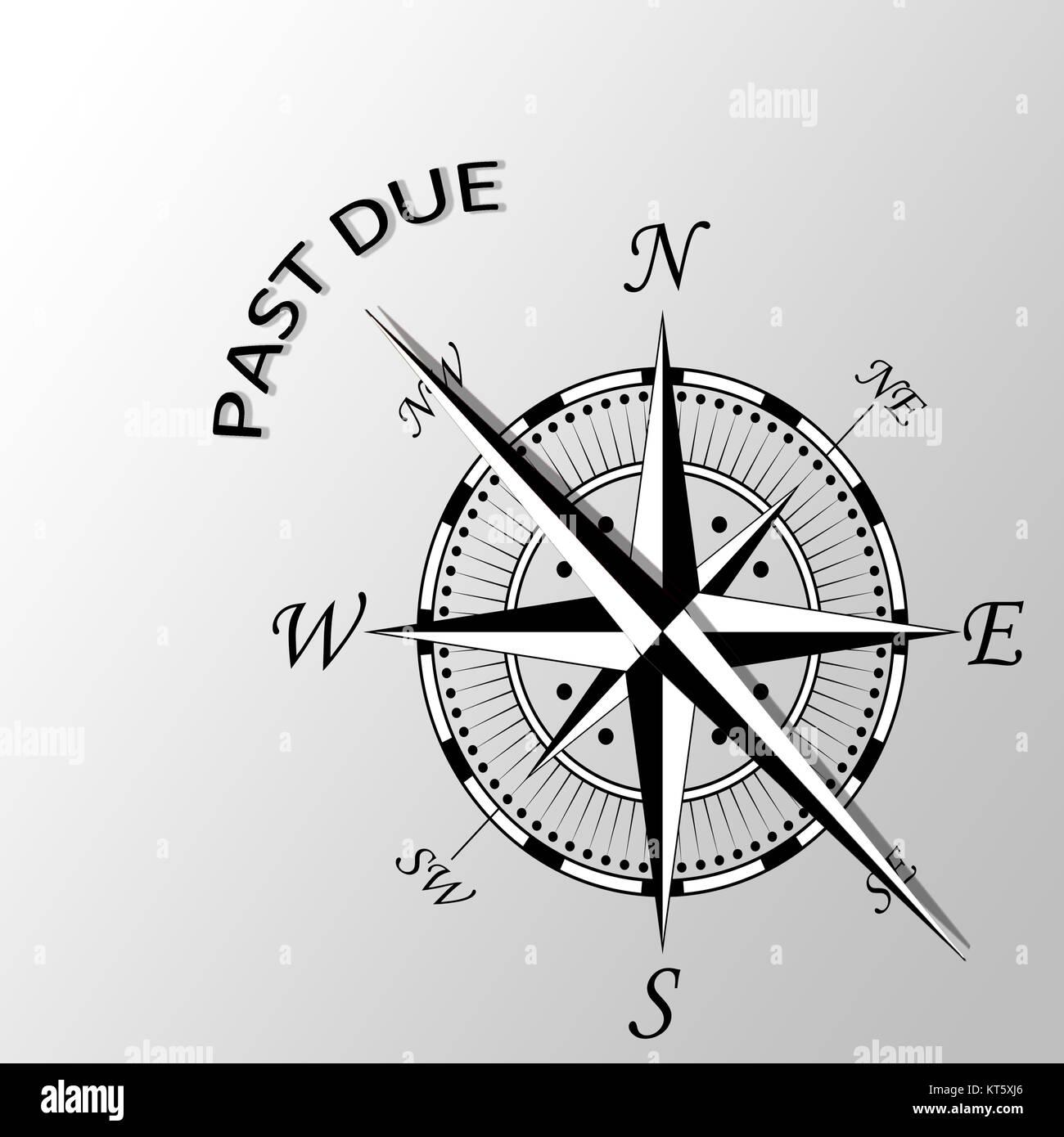 Illustrazione del passato a causa scritto da parte compass Immagini Stock