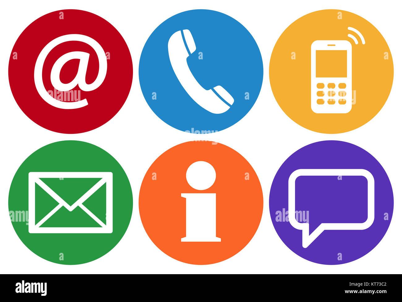 Contattaci, set di sei icone bianche in cerchi colorati Foto Stock