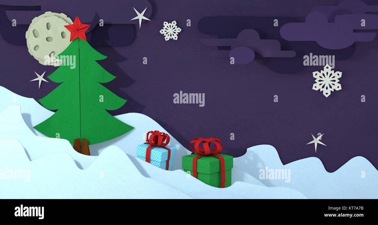 Auguri Di Natale 3d.Papercut Albero Di Natale Biglietto Di Auguri Carta Artigianale