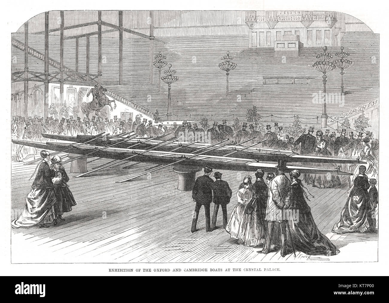 Oxford e Cambridge barche Boat Race mostra, Crystal Palace, 1869 Immagini Stock