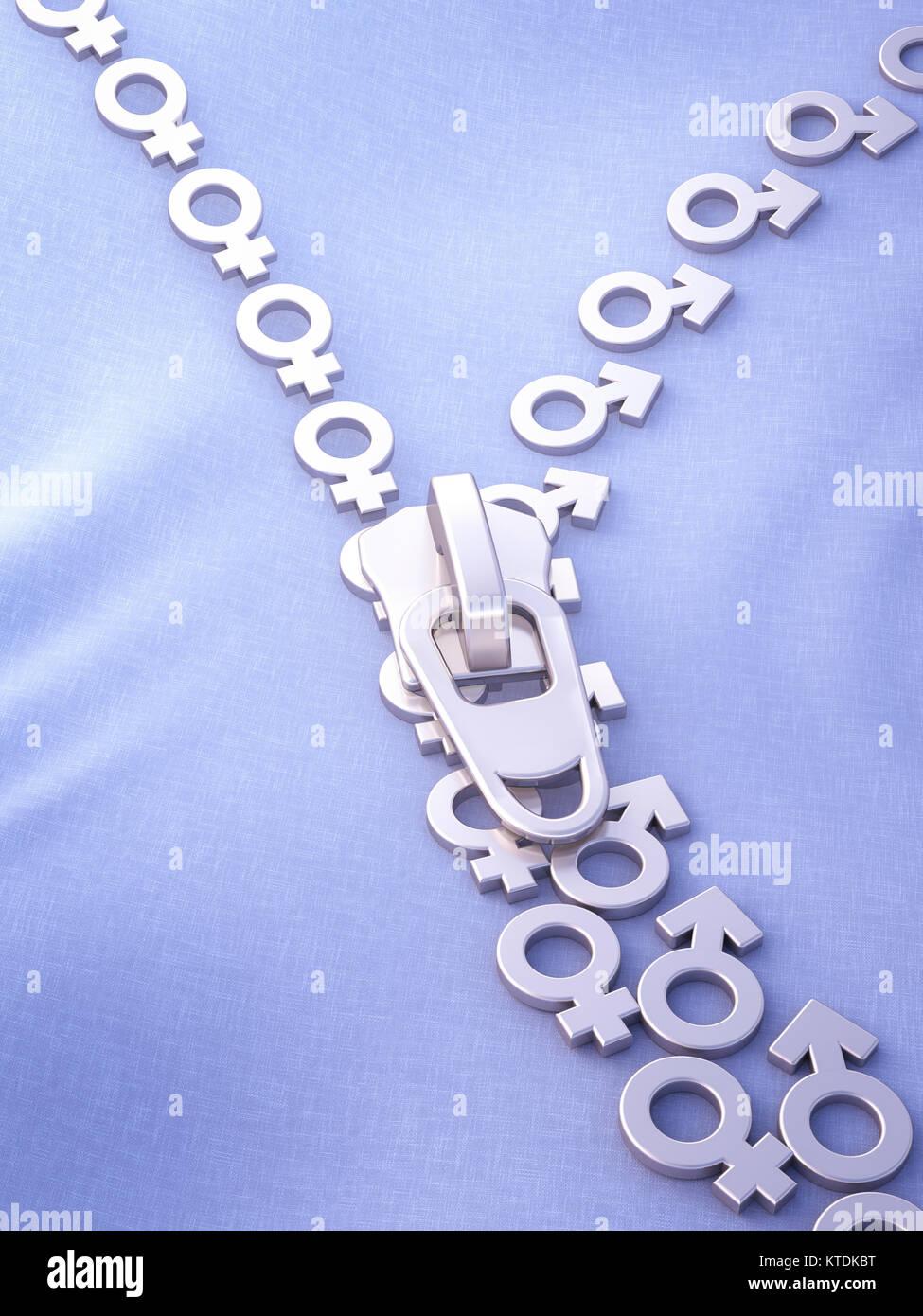 3D'illustrazione, zipper, maschi e femmine di simboli Immagini Stock