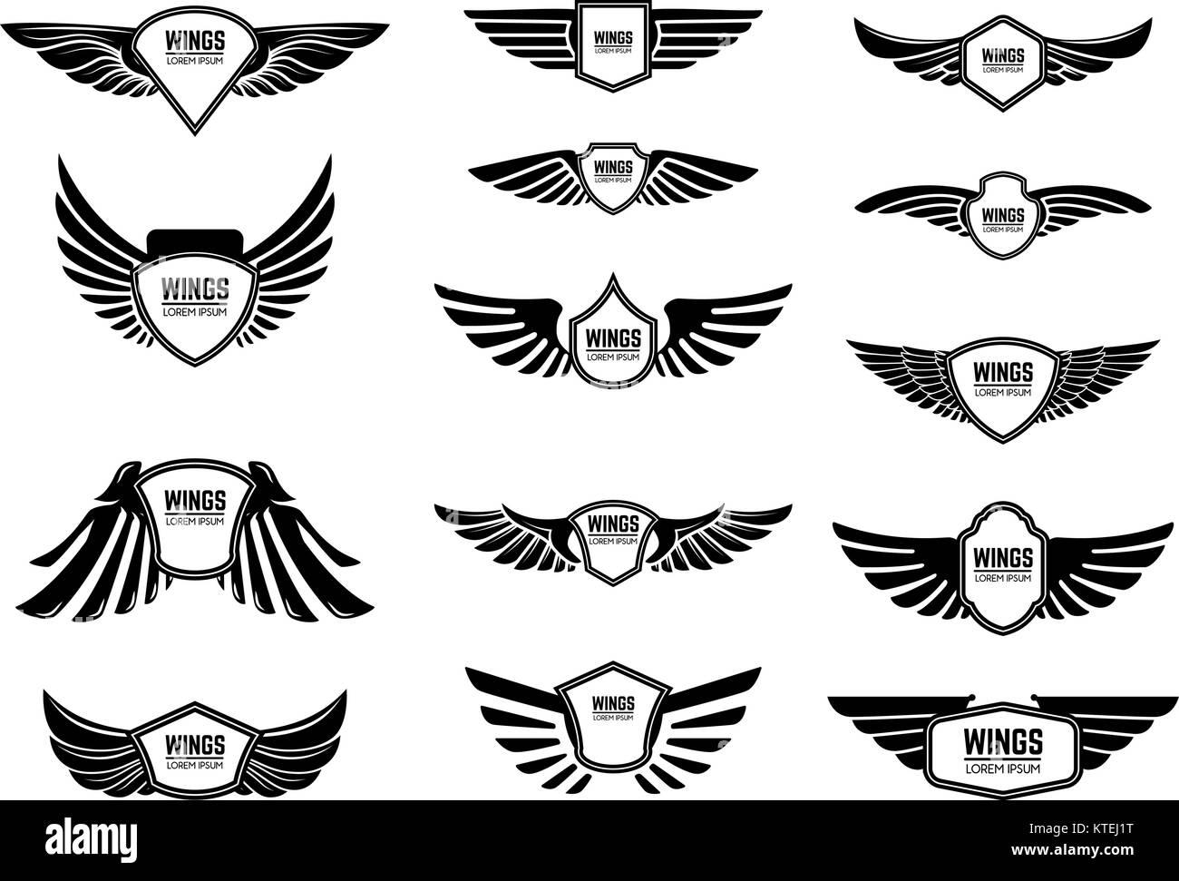 Set di emblemi in bianco con le ali. Gli elementi di design per l  f26cee01e1d3
