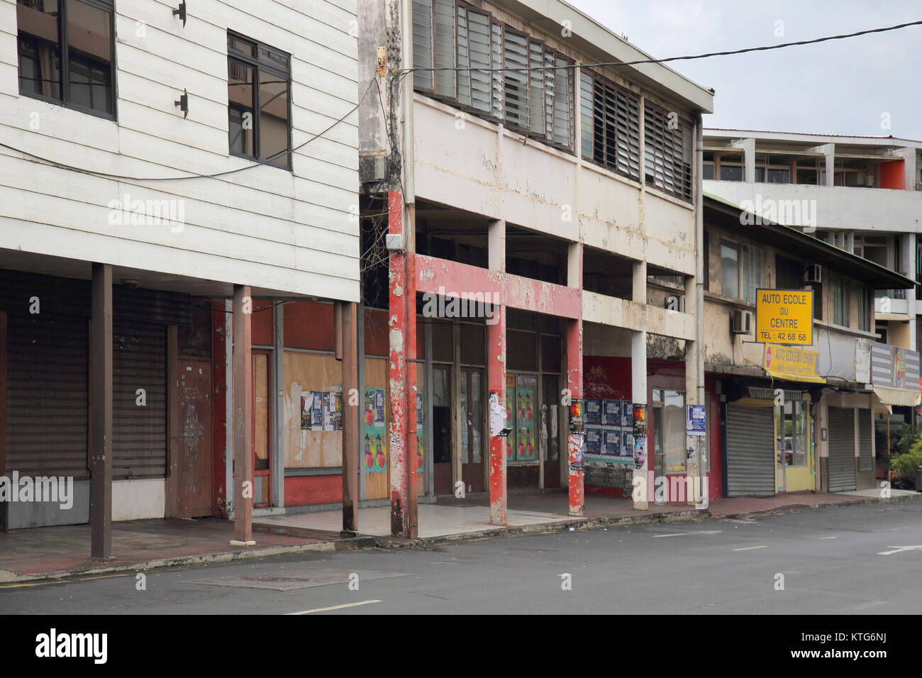 La povertà nel centro cittadino di Papeete a Tahiti Immagini Stock