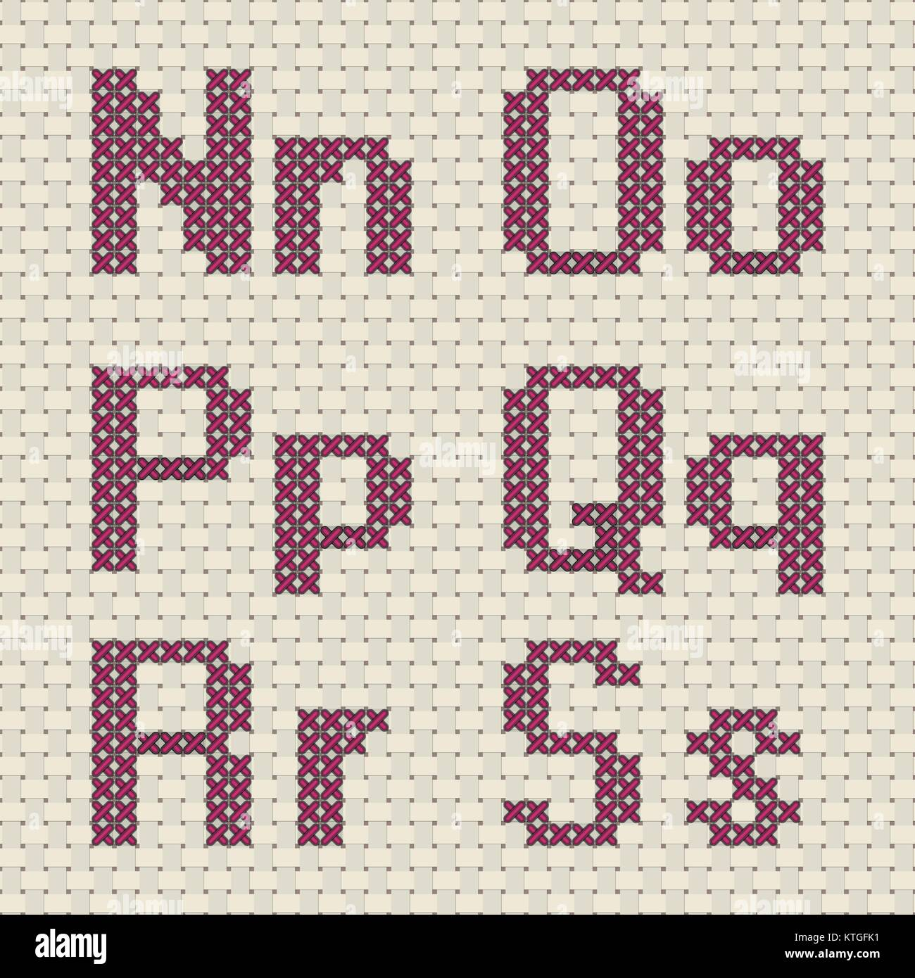 Alfabeti A Punto Croce Pattern Illustrazione Vettoriale 170008581