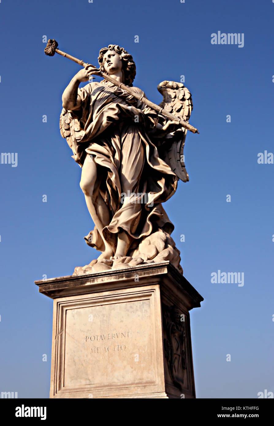 Angelo con la spugna e da Antonio Giorgetti, con l'iscrizione Potaverunt me aceto (mi hanno dato da bere dell'aceto), Immagini Stock
