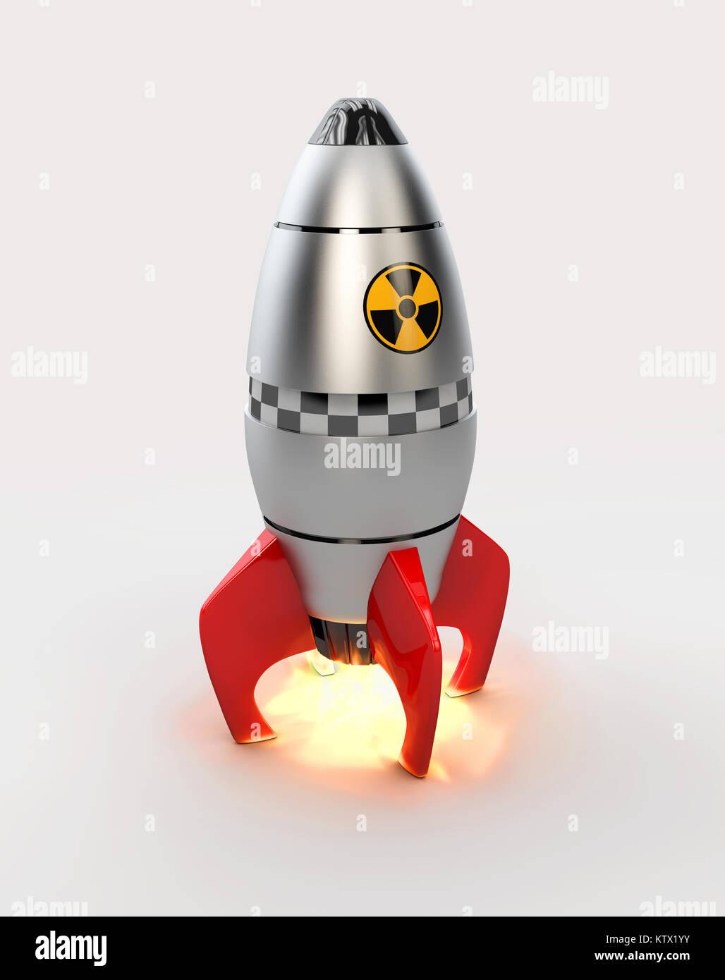 D illustrazione del razzo nave spaziale di decollo con il fuoco