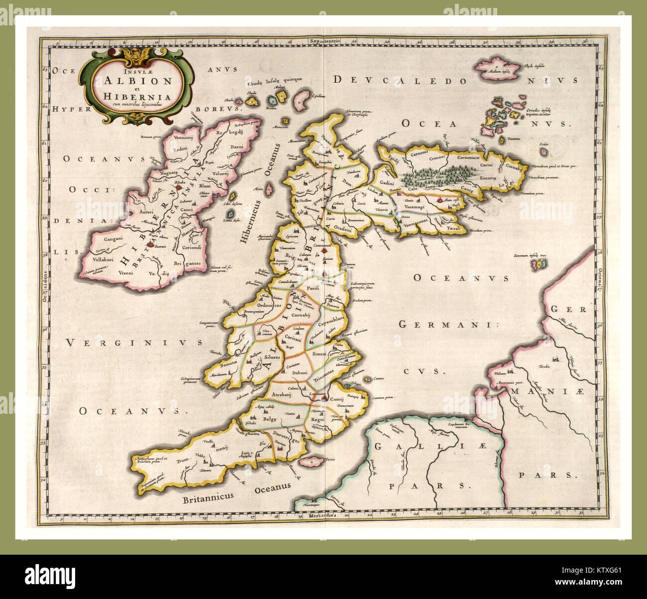 Immagini Della Cartina Della Gran Bretagna.Inizio Mappa Della Gran Bretagna L Inghilterra E La Scozia Scritto In Latino Datata 1654 Albion E Hibernia Foto Stock Alamy