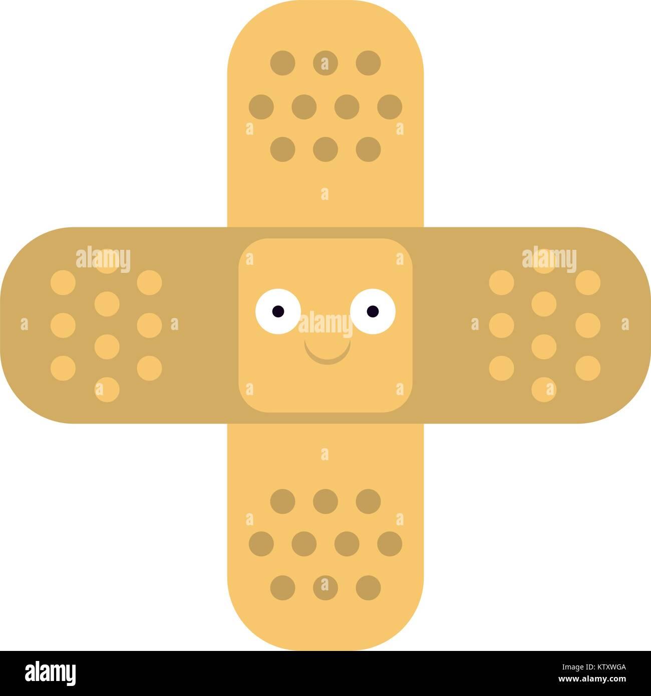 Bendaggio simbolo attraversato cartoon cartoon sorridente sorridente Immagini Stock