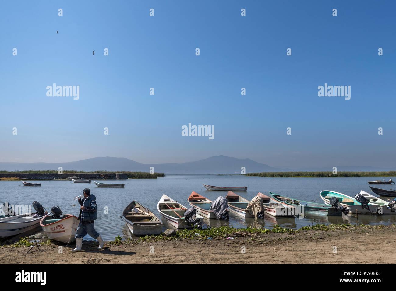 Barche da pesca sulle sponde del lago Chapala, Chapala, Jalisco, Messico Immagini Stock