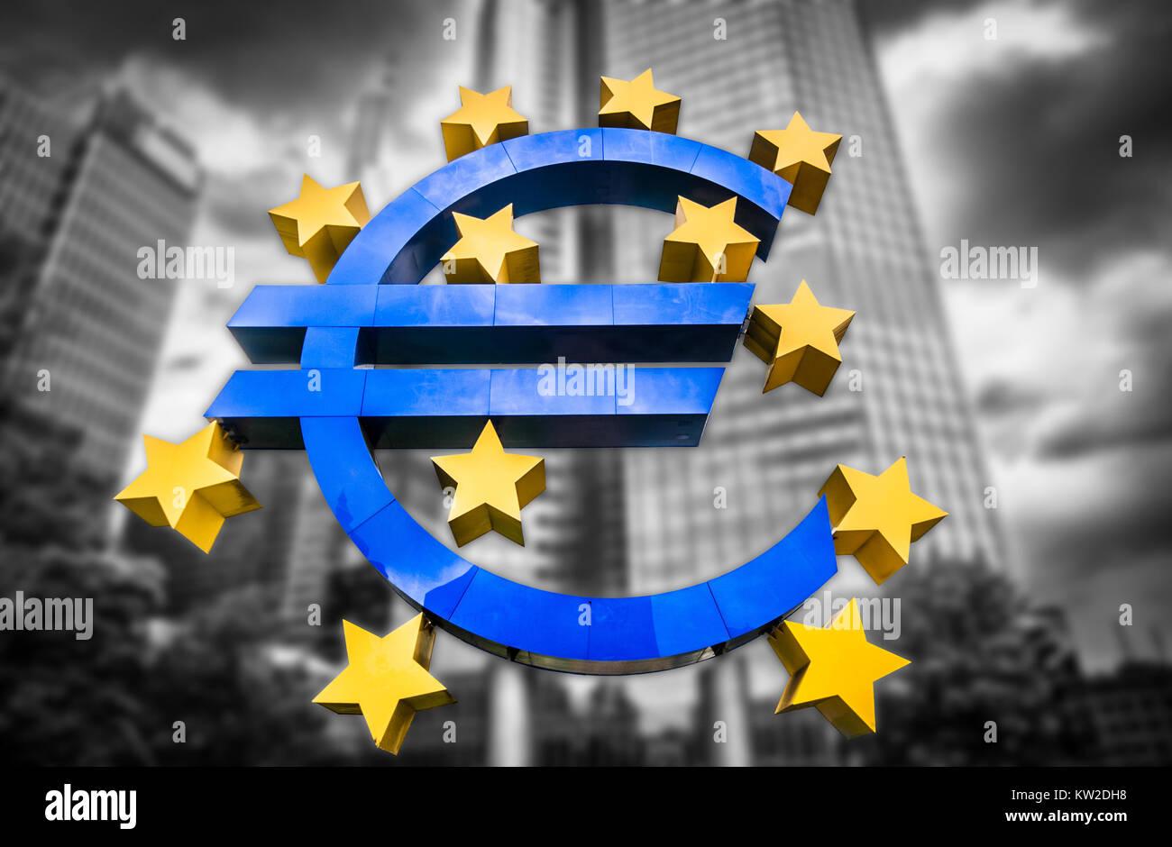 Simbolo dell'euro alla Banca centrale europea sede a ...