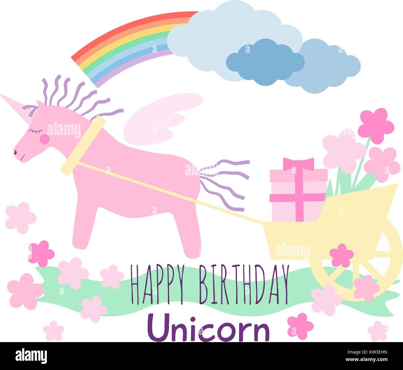 Rosa unicorno alato cavallo con violetta criniera e coda tira un