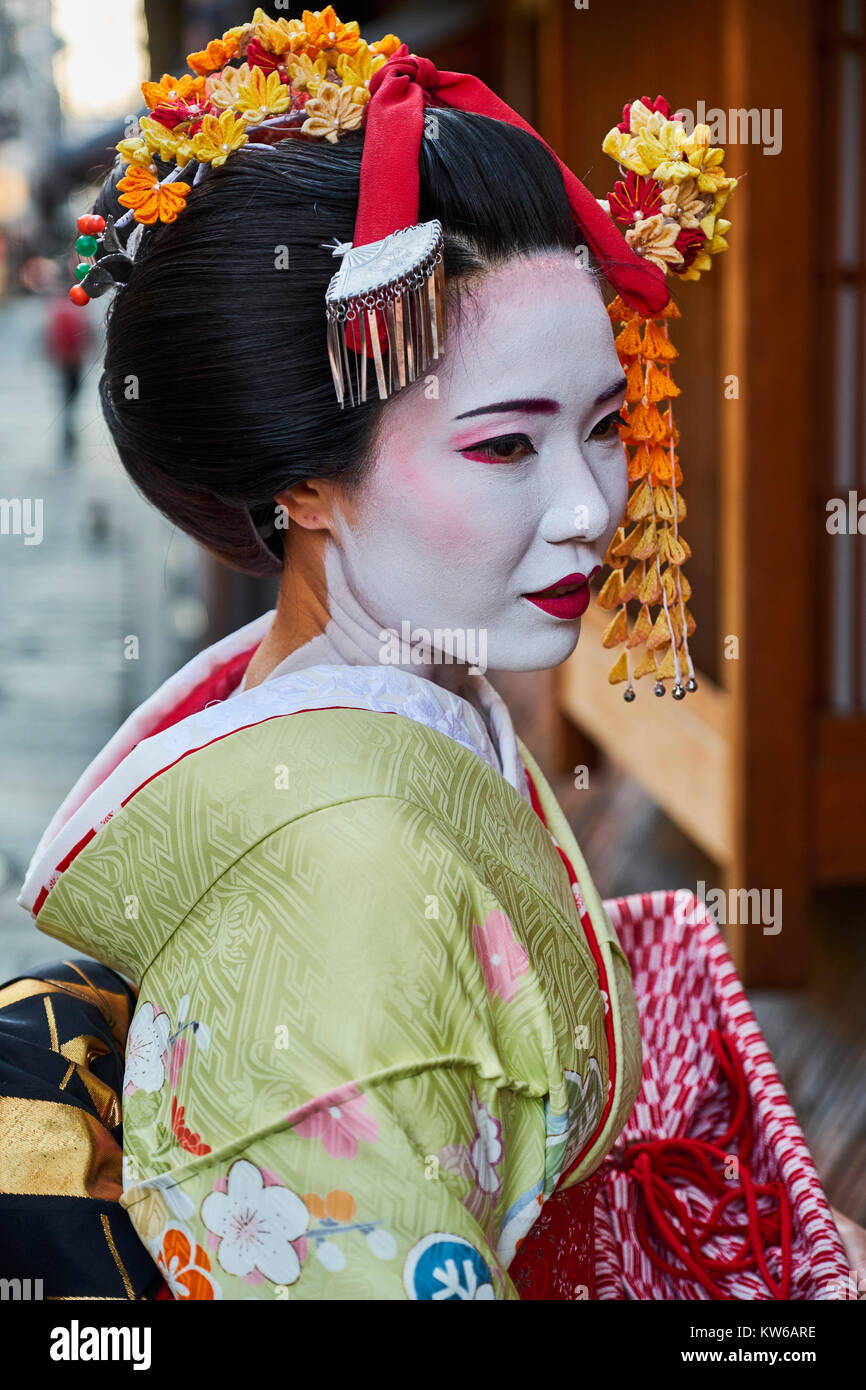 Giappone, isola di Honshu, la regione di Kansai, Kyoto, Gion, area Geisha Immagini Stock