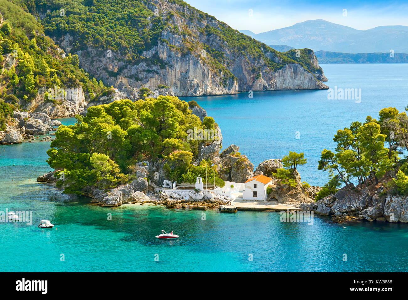 La piccola cappella a Isola di Panagias, Parga, Grecia Immagini Stock