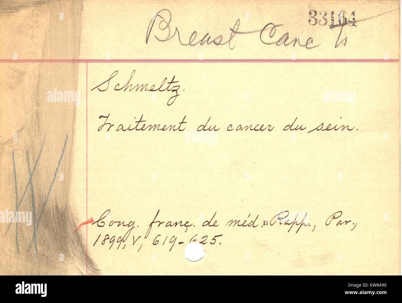 Un oggetto manoscritta carta dalla libreria del vecchio catalogo scheda ricorda i giorni precomputer quando le informazioni Immagini Stock