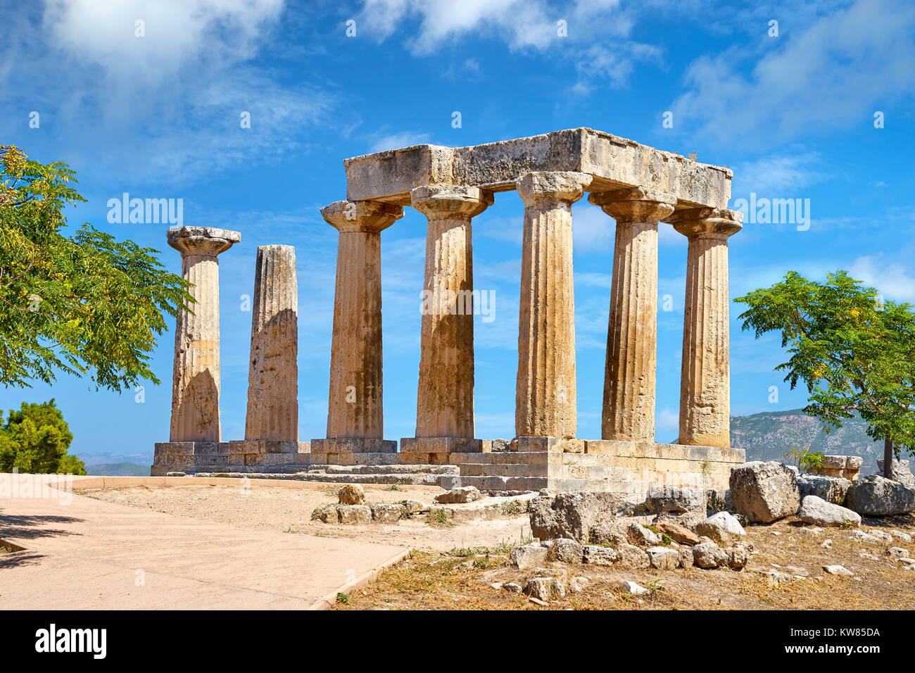 Il Tempio di Apollo, antica Corinto, Grecia Immagini Stock