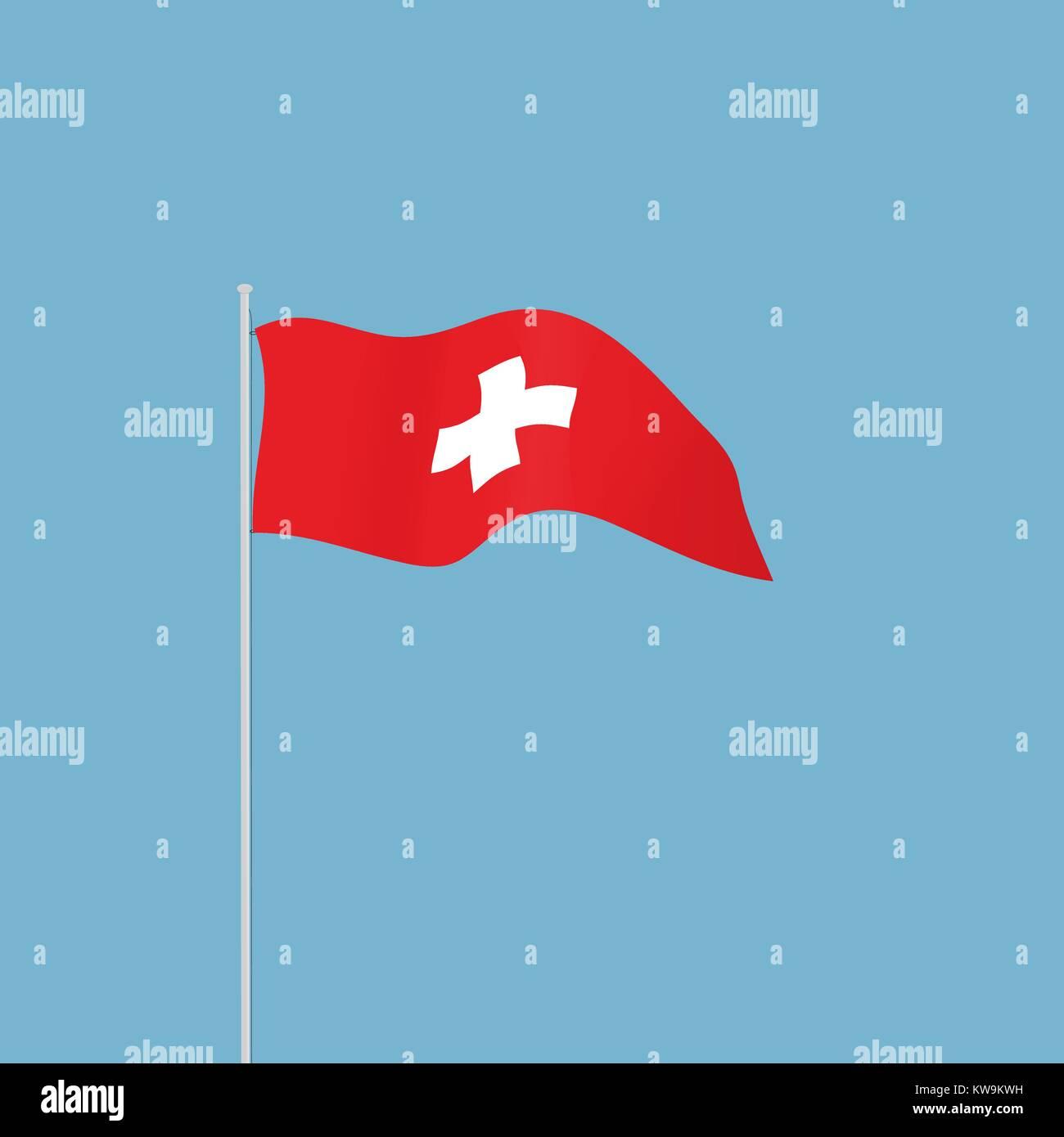 Sventola Bandiera Svizzera Con Una Croce Bianca Su Sfondo Rosso