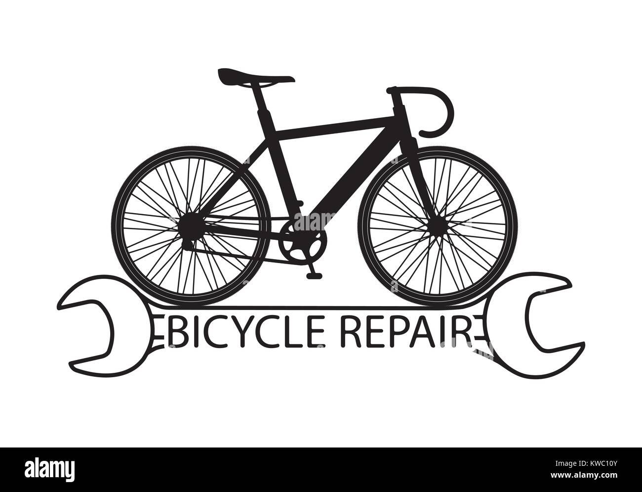 Riparazione Di Biciclette Con La Composizione Di Una Silhouette Di
