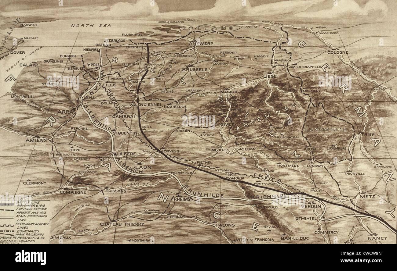Guerra mondiale 1. Mappa di fronte occidentale che mostra la posizione delle forze contrapposte su nov. 4, 1918, Immagini Stock