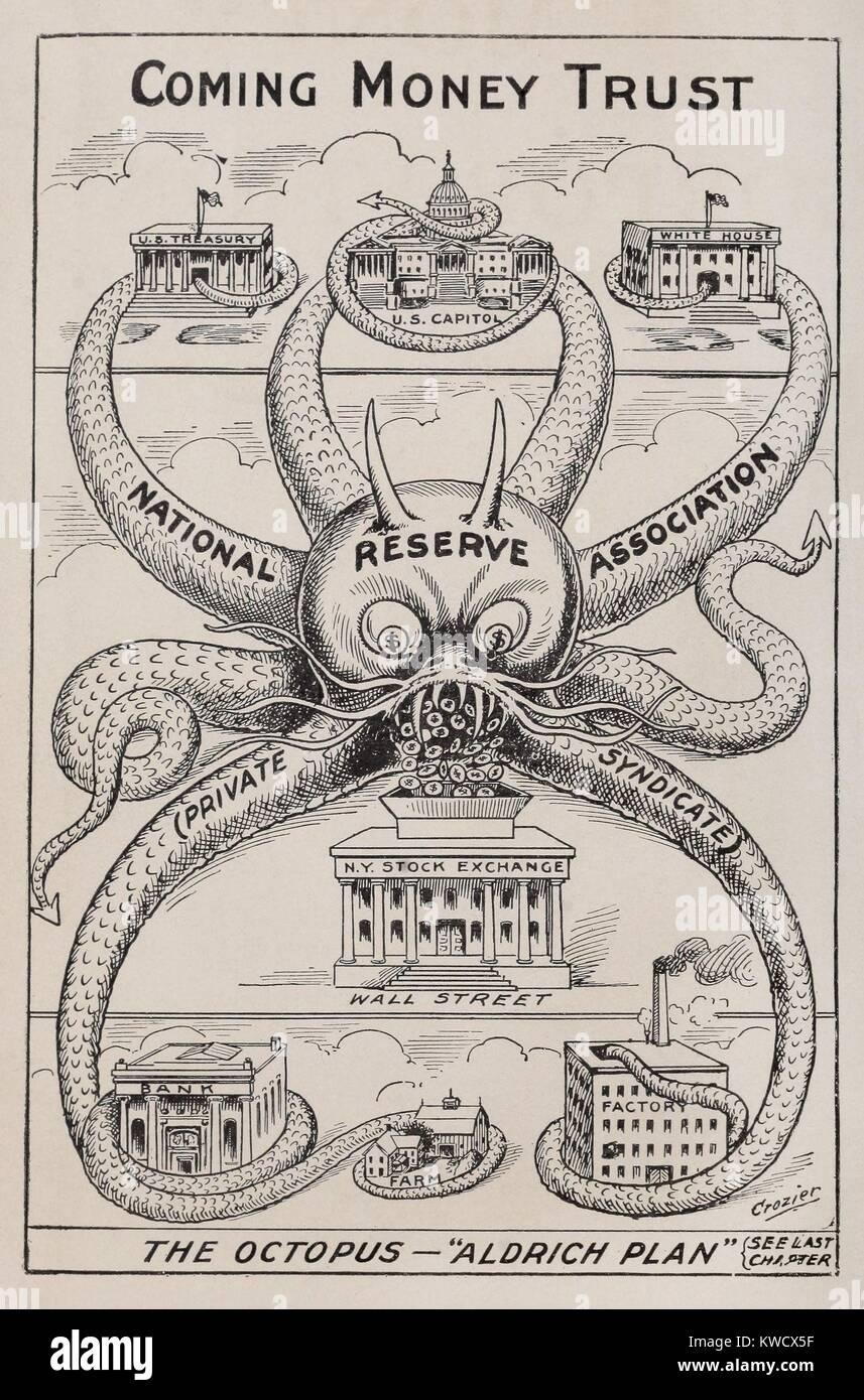 L'Octopus-ALDRICH PIANO, prossimi denaro fiducia. 1912 cartoon da Alfred Owen Crozier, che si oppongono al ristabilimento Immagini Stock
