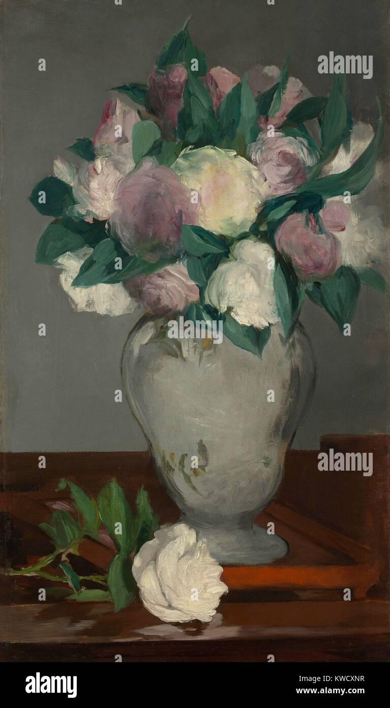 Le peonie, da Edouard Manet, 1864-65, impressionista francese pittura, olio su tela. I fiori grandi petali e foglie Immagini Stock