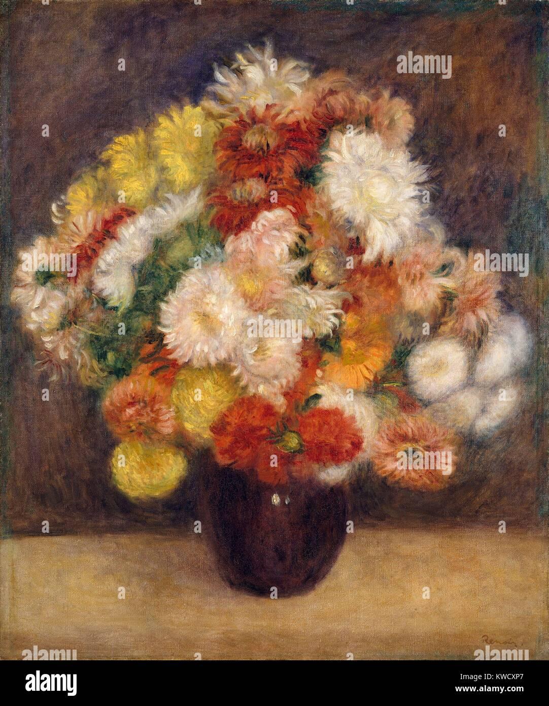 Bouquet di crisantemi, da Auguste Renoir, 1881, impressionista francese pittura, olio su tela (BSLOC_2017_3_85) Immagini Stock