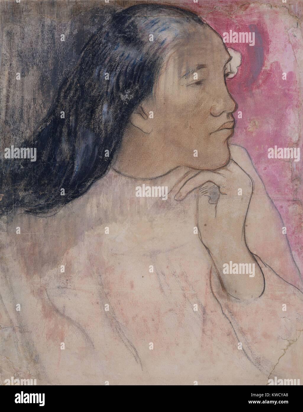 Il tahitiano donna con un fiore tra i suoi capelli, di Paul Gauguin, 1891-92, Francese Post-Impressionism. Si tratta Immagini Stock