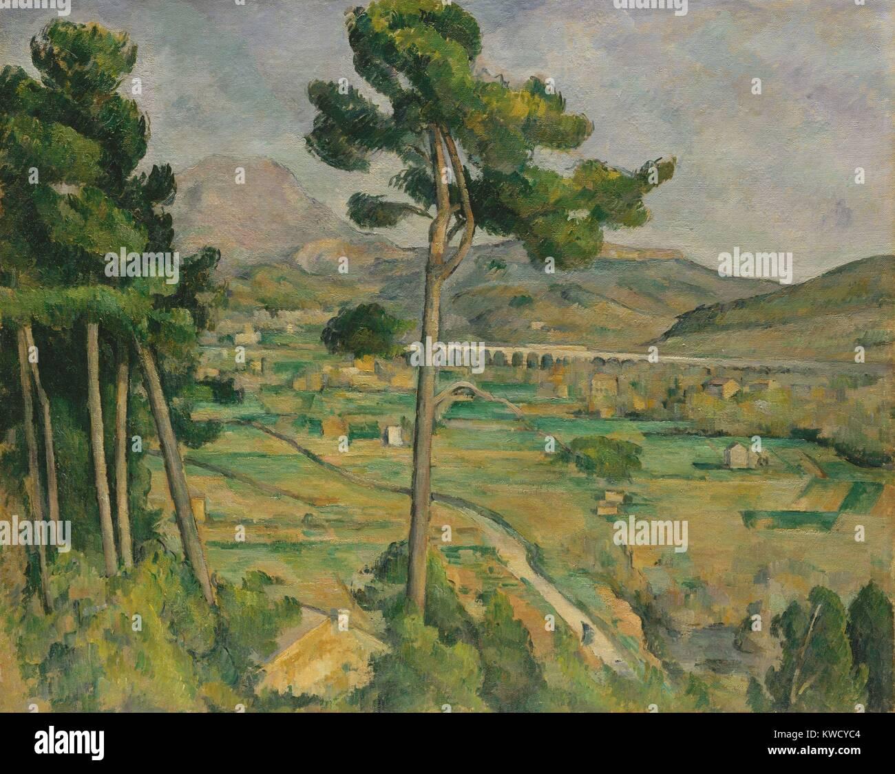 Mont Sainte-Victoire, Viadotto dell'arco lungo la valle del fiume di Paul Cezanne, 1882-85, Post-Impressionism. Immagini Stock