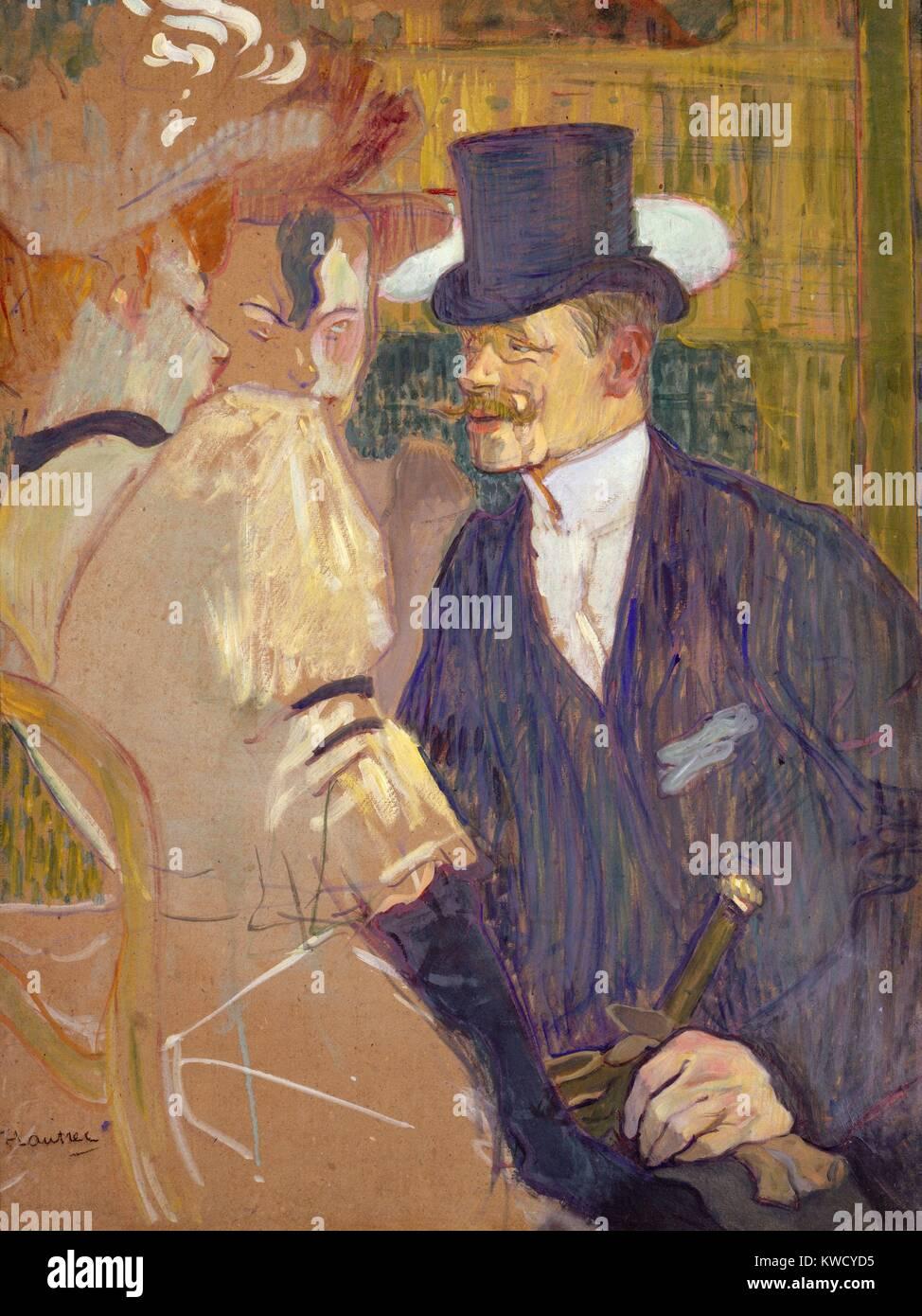 L'inglese presso il Moulin Rouge, da Henri de Toulouse-Lautrec, 1892, Post-Impressionist pittura. Lautrecs amico pittore inglese William Tom Warrener, appare come un top-cappello gentiluomo con due compagne femmine presso il Moulin Rouge. Warrener's redde (BSLOC_2017_5_62) Foto Stock