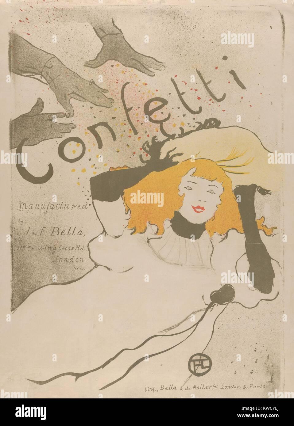Coriandoli, Henri de Toulouse-Lautrec, 1894, francese Post-Impressionist, litografia. Si tratta di un manifesto Foto Stock