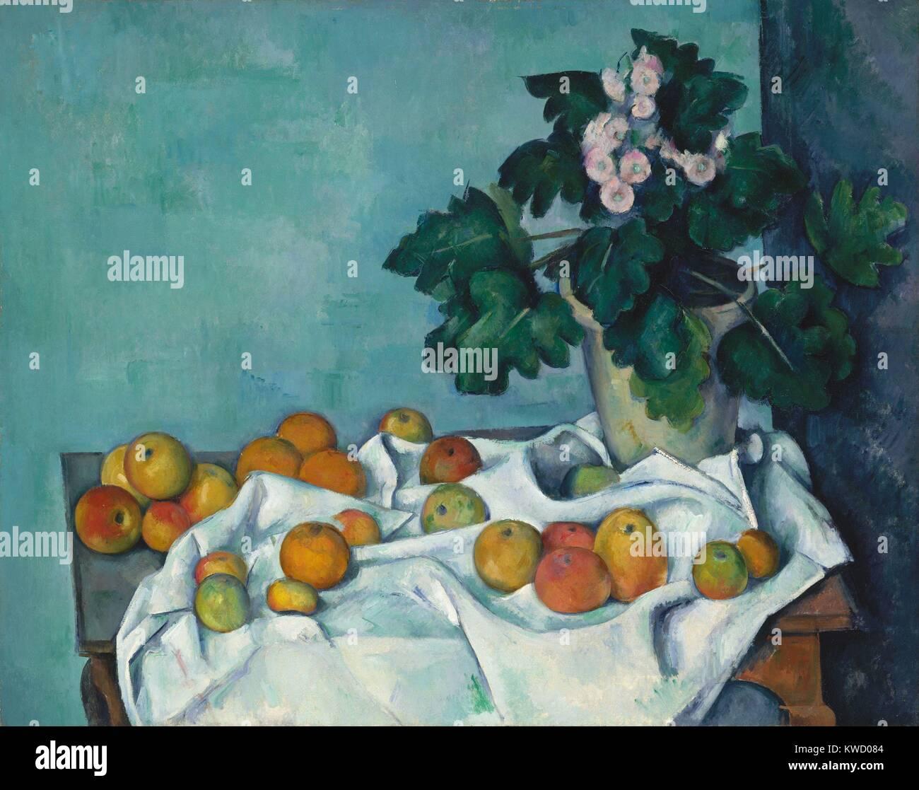 Natura morta con mele e un vasetto di primule, di Paul Cezanne, 1890, francese Post-Impressionism. Monet, il maestro Immagini Stock
