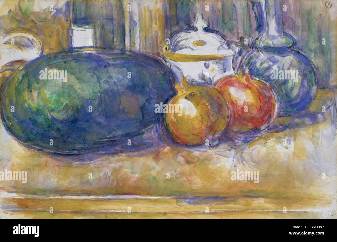 Still-Life con un cocomero e melograni, di Paul Cezanne, 1900-06, Francese Post-Impressionism. La pittura ad acquerello Immagini Stock