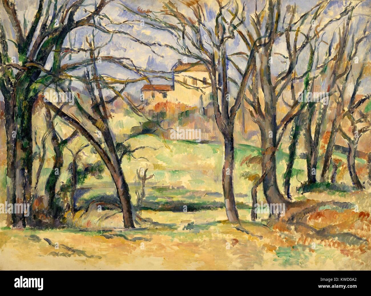 Alberi e case nei pressi del Jas de Bouffan, di Paul Cezanne, 1885-86, Francese Post-Impressionism. Questo è Immagini Stock