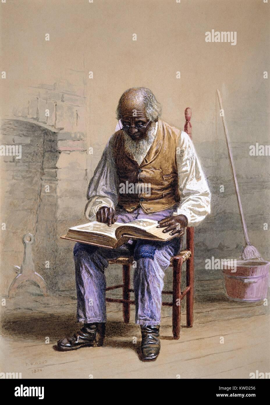 La lettura della Sacra Scrittura, da Thomas Waterman legno, 1874, American pittura ad acquerello. L'artista Immagini Stock