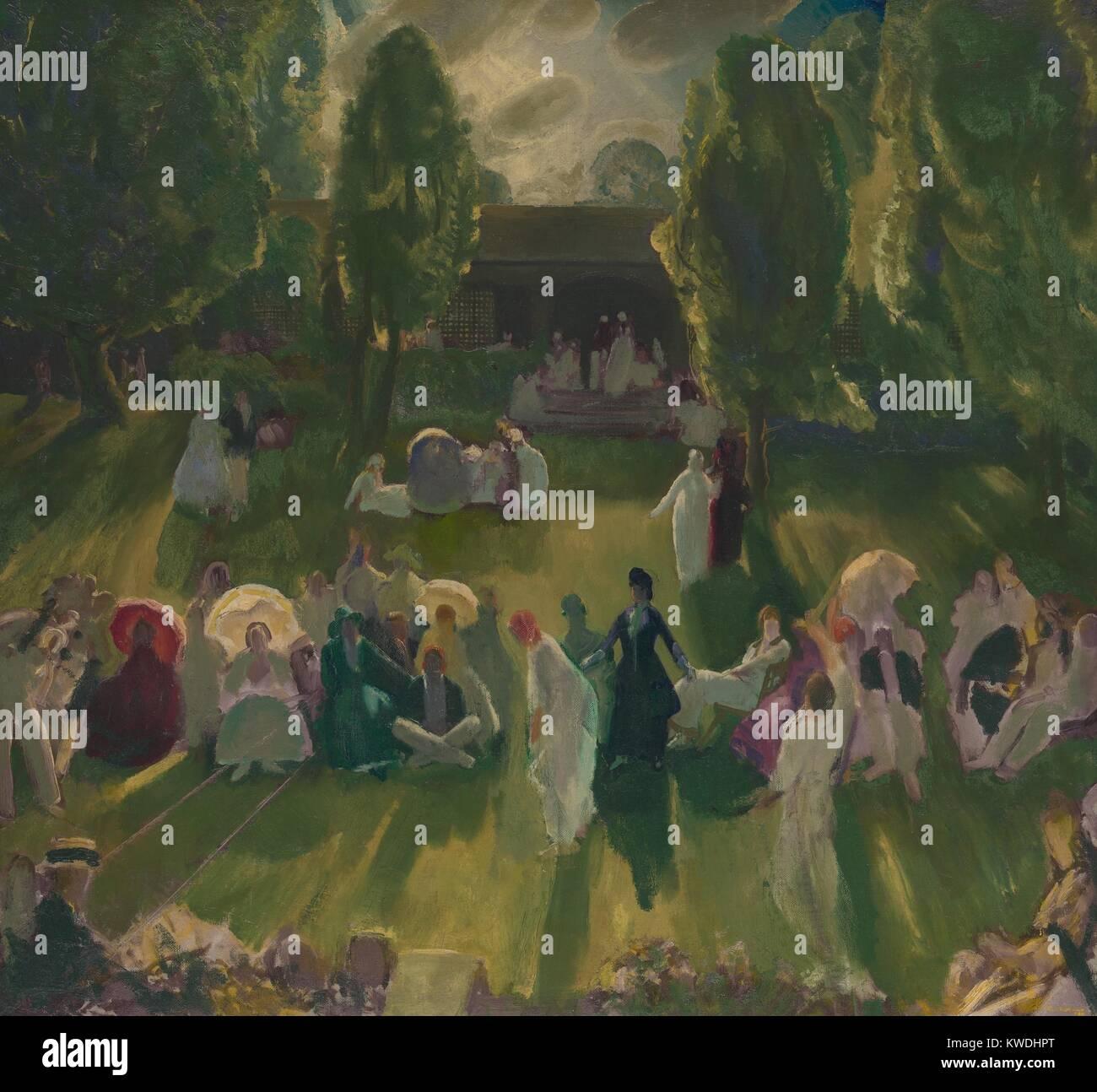 TENNIS A NEWPORT, da George soffietto, 1919, la pittura americana, olio su tela. Scena satirica della elite partite Immagini Stock