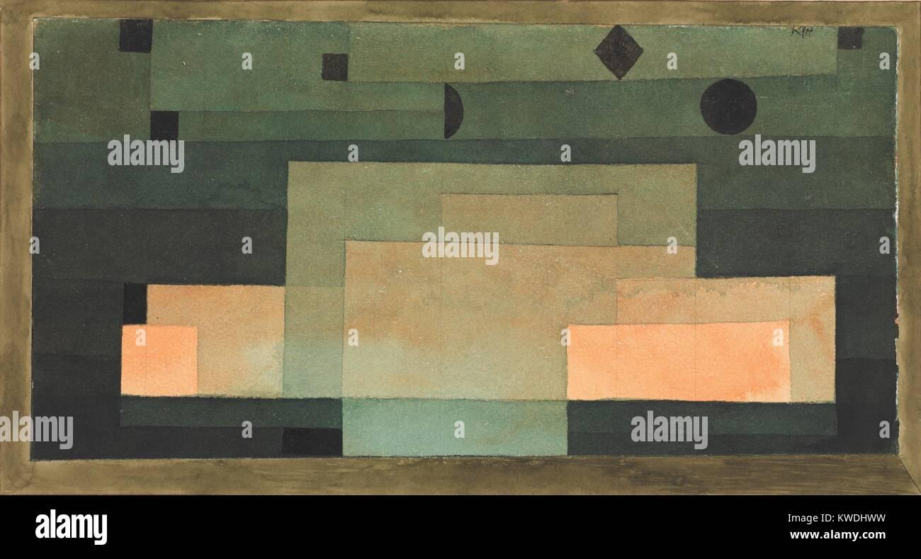 Il firmamento sopra il tempio, di Paul Klee, 1922, Swiss acquarello e tempera pittura su carta. Appartamento rettangoli Immagini Stock