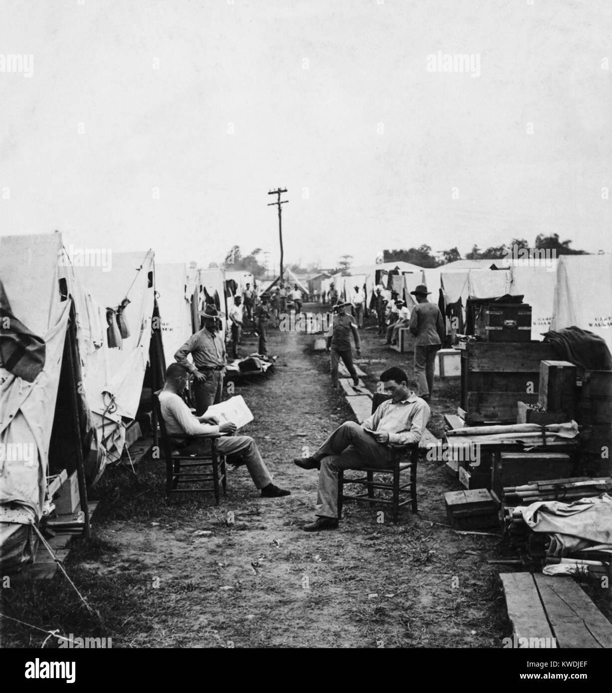 Xxii fanteria americana a Camp Wallace, Isole Filippine nel 1902. 126.000 soldati americani servita nella guerra Immagini Stock