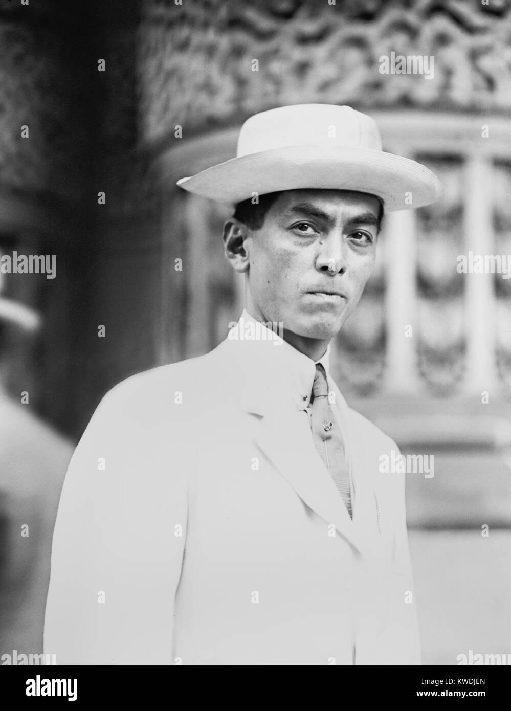 Manuel Quezon nel 1912 quando era residente il Commissario delle Filippine. Egli era in noi partecipando alla Convenzione Immagini Stock