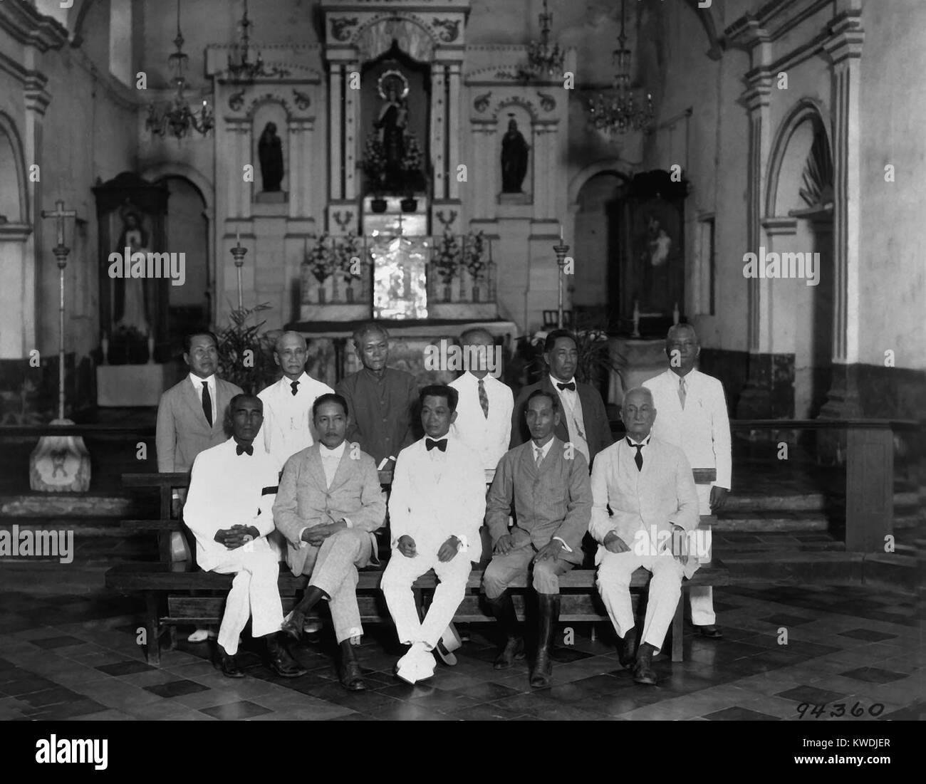 I leader rivoluzionari che segna il trentesimo anniversario della Repubblica delle Filippine nel 1929. Emilio Aguinaldo Immagini Stock