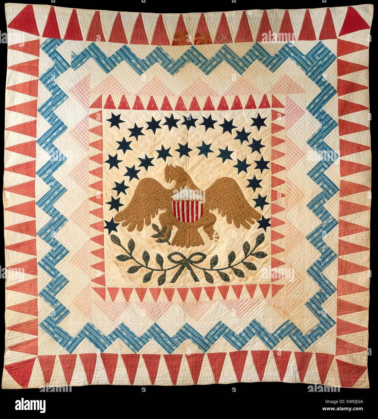 QUILT, EAGLE PATTERN, 1837-50, New England, American artigianali, tessili di cotone. La trapunta è datata dal Immagini Stock
