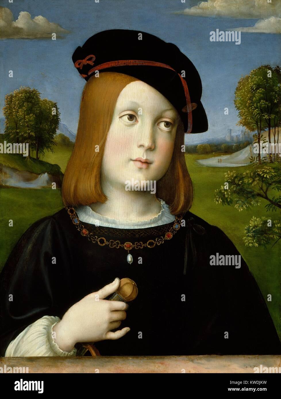 FEDERIGO Gonzaga, da Francesco Francia, 1510, pittura rinascimentale italiana, tempera su legno. Il grande Rinascimento Immagini Stock