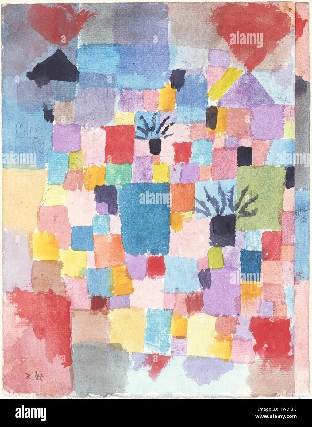 Giardini del sud, di Paul Klee, 1913, Swiss disegno, acquarello e inchiostro su carta. Questo primo lavoro astratto Immagini Stock