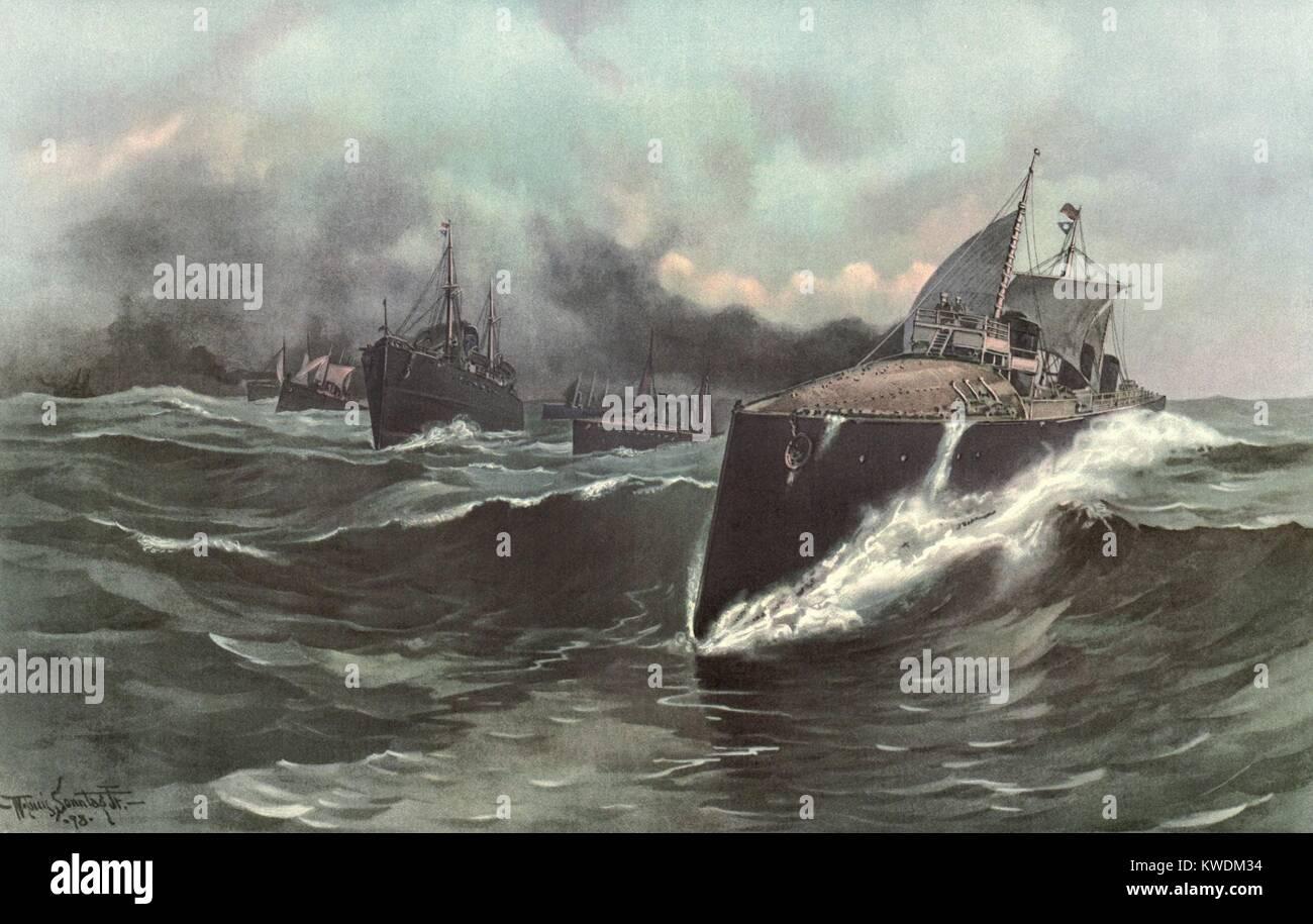Spagna la torpediniera flottiglia in rotta verso i Caraibi, maggio 1898. Squadrone iberico, comandata dall'Ammiraglio Immagini Stock