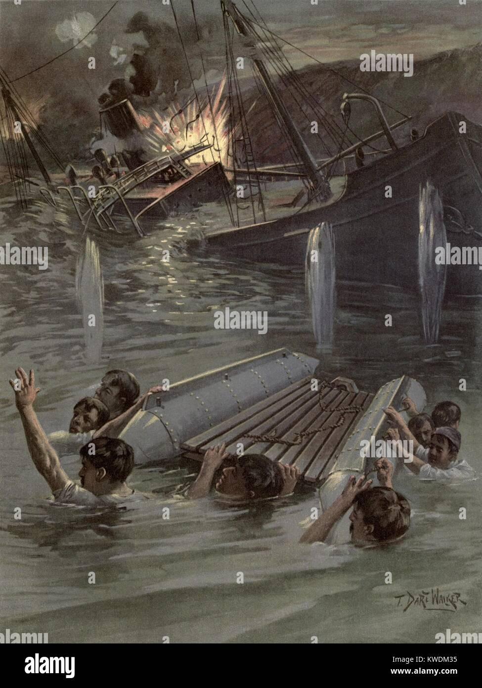US Naval officer Richard Hobson e sei marinai sotto spagnolo fire dopo il naufragio della nave USS Merrimac. Mentre Immagini Stock