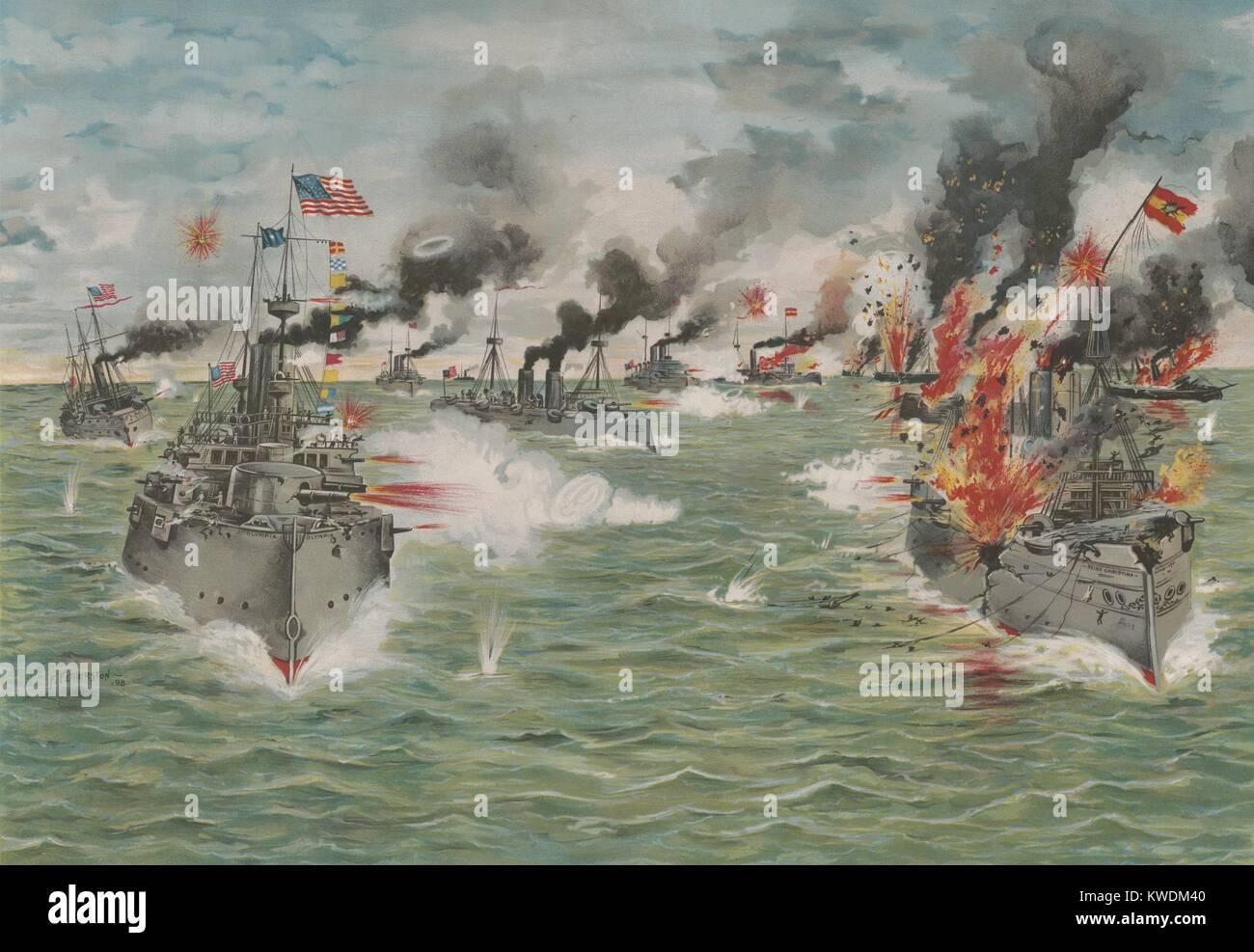 Noi lo squadrone asiatico offre l'ultima fiancata allo spagnolo della flotta del Pacifico, 1 maggio 1898. La Immagini Stock