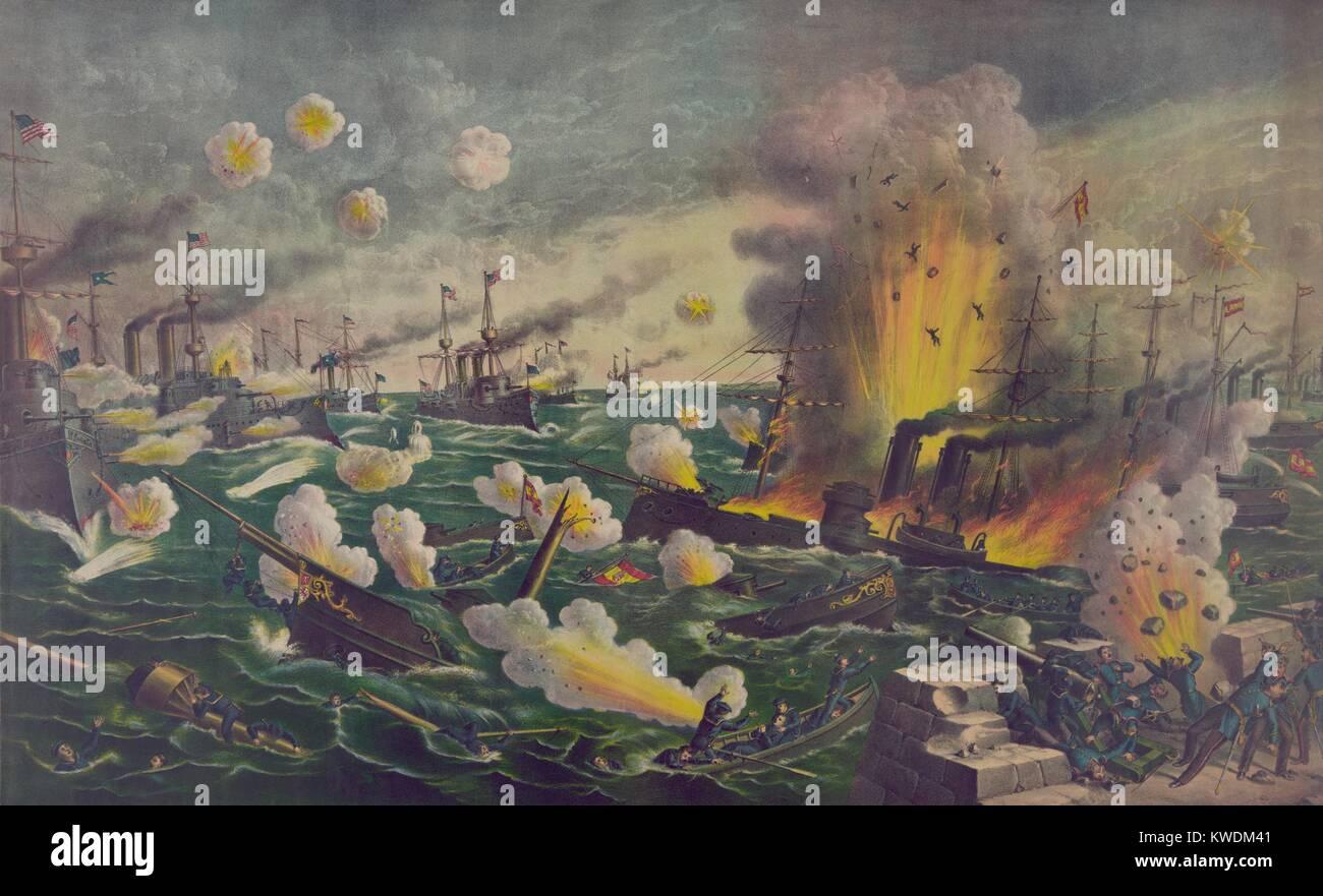 La battaglia della Baia di Manila, è stato il primo combattimento spagnola della guerra americana. Il 1 maggio Immagini Stock