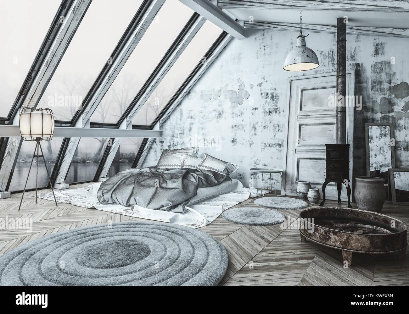 Stufe Per Camere Da Letto.Accogliente Stile Scandinavo Camera Da Letto Con Un Bruciatore Di