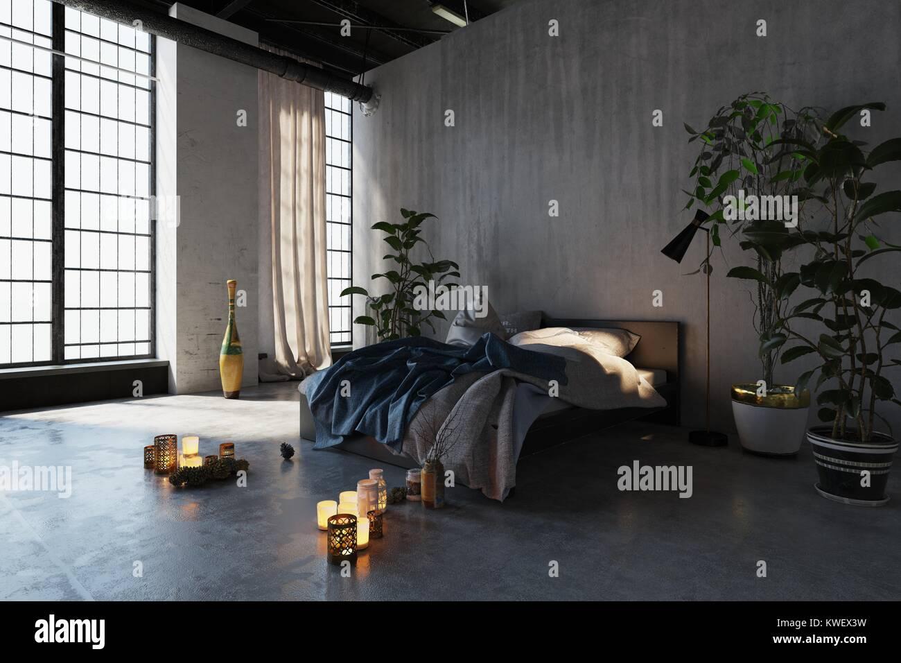 Camera Da Letto Romantica Con Candele : Romantica camera da letto con candele accese in un alto volume