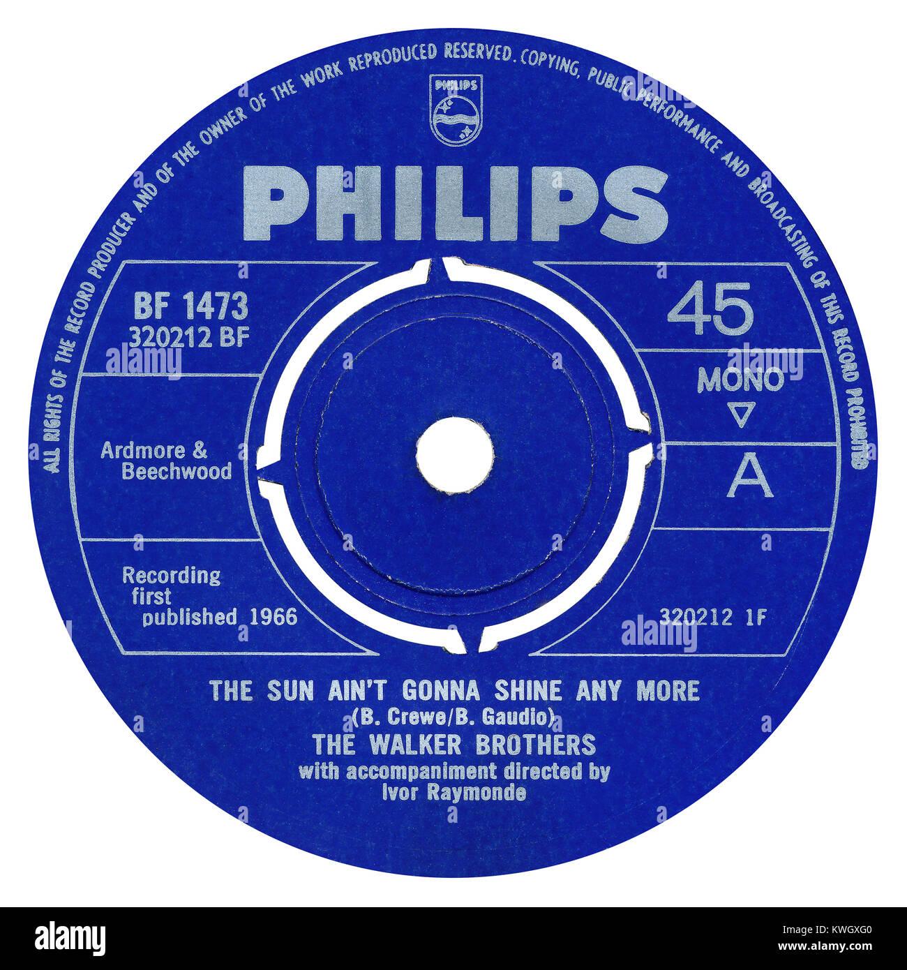 45 RPM 7' UK etichetta discografica del sole Ain't Gonna Shine qualsiasi più dai fratelli Walker. Scritto Immagini Stock